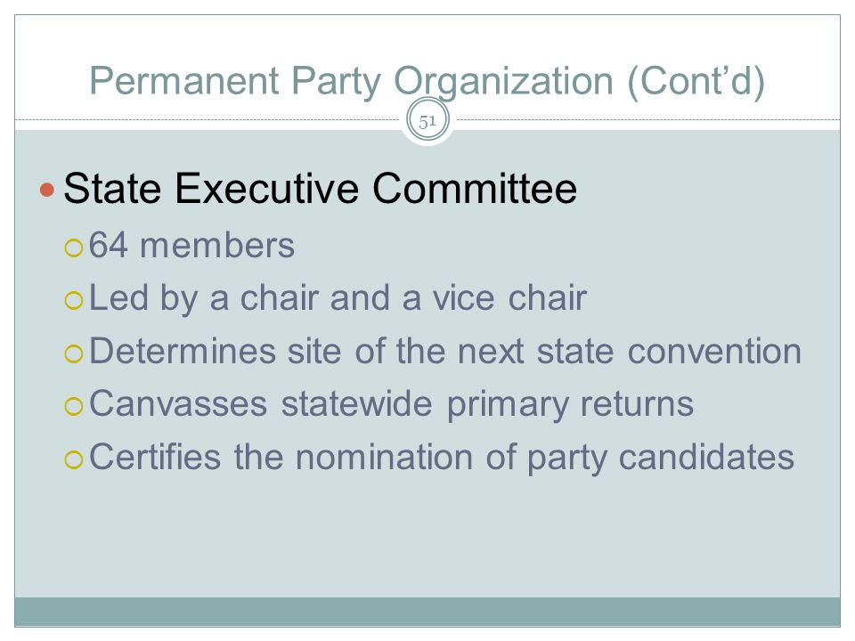 Permanent Party Organization (Contd) State Executive Committee 64 members Led by a chair and a vice chair Determines site of the next state convention