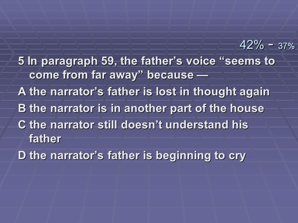 5 In paragraph 59, the fathers voice seems to come from far away because 5 In paragraph 59, the fathers voice seems to come from far away because A th