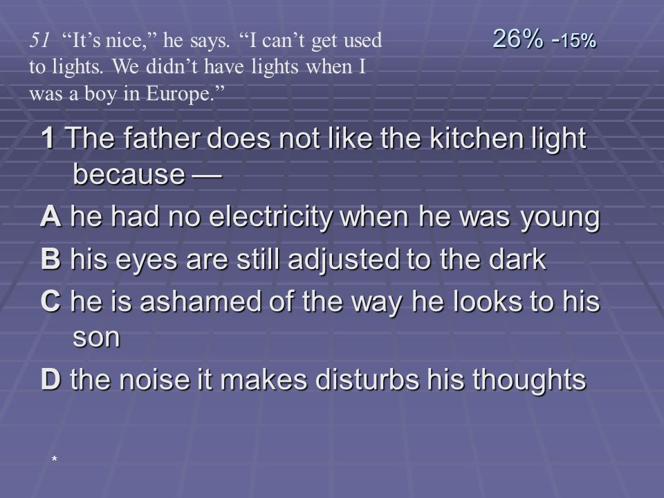 1 The father does not like the kitchen light because 1 The father does not like the kitchen light because A he had no electricity when he was young B
