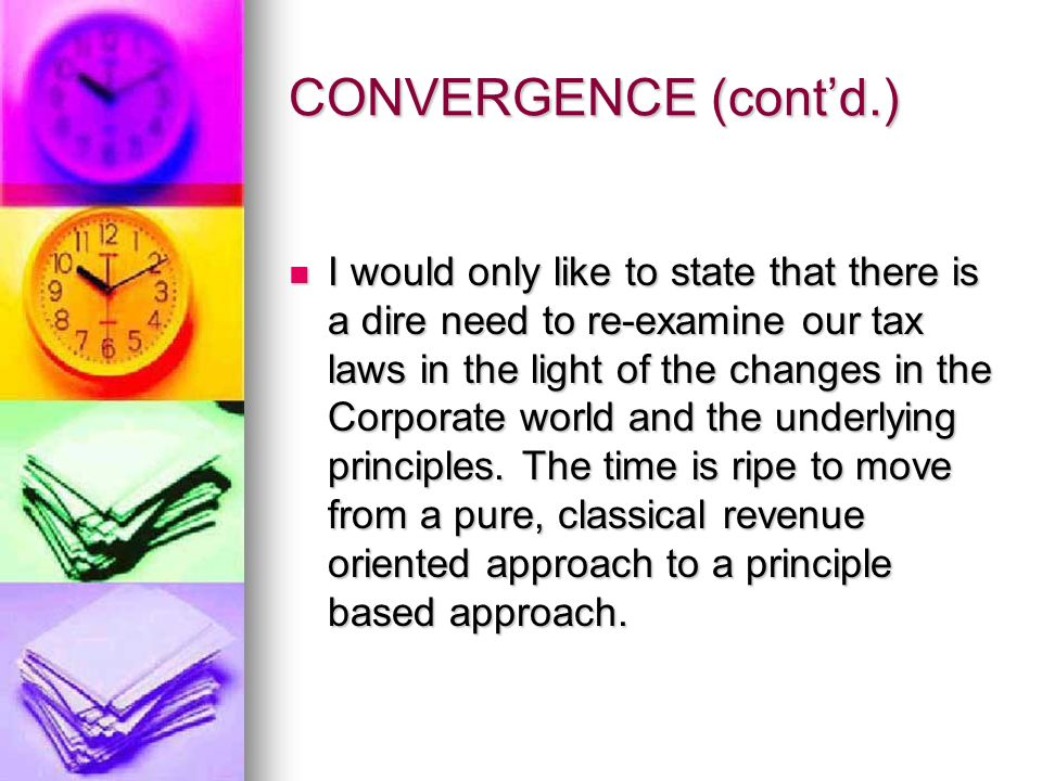 CONVERGENCE (contd.) Section 59(B) of the IT Ordinance suggests a proportionate set-off of losses to a controlling share of 75% or more.