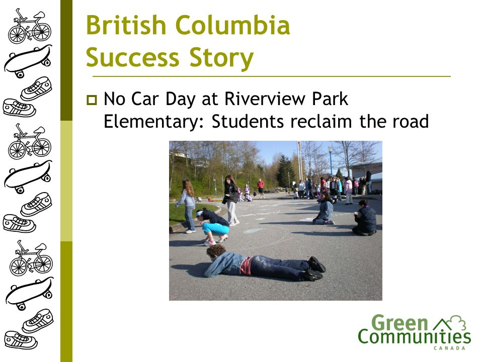 British Columbia Success Story No Car Day at Riverview Park Elementary: Students reclaim the road