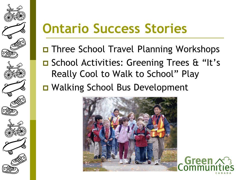 Ontario Success Stories Three School Travel Planning Workshops School Activities: Greening Trees & Its Really Cool to Walk to School Play Walking Scho