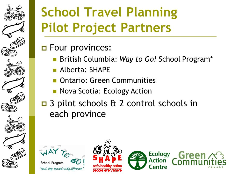 School Travel Planning Pilot Project Partners Four provinces: British Columbia: Way to Go.