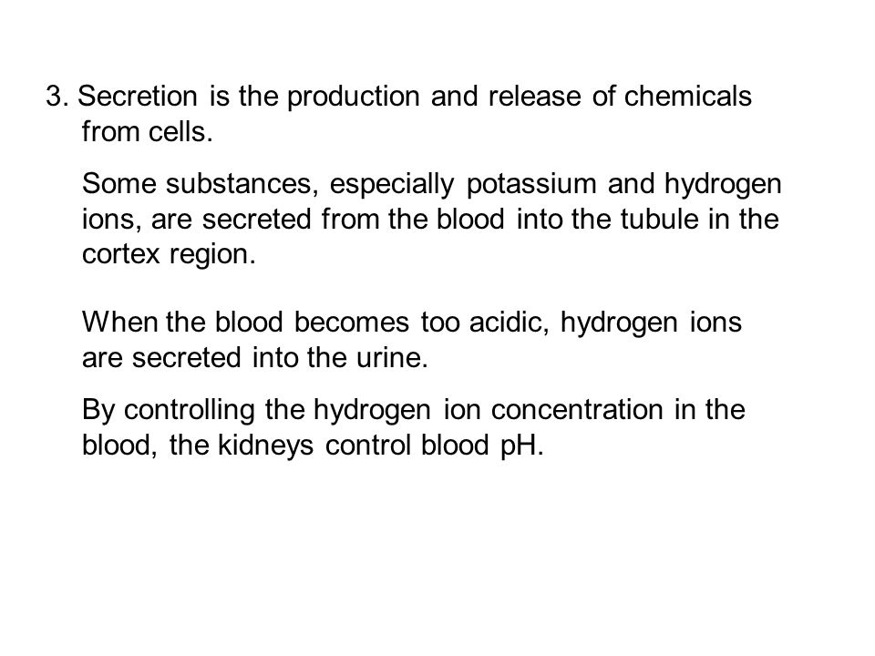 3. Secretion is the production and release of chemicals from cells. Some substances, especially potassium and hydrogen ions, are secreted from the blo