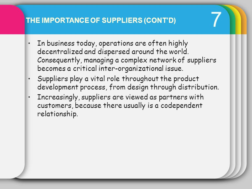 THE IMPORTANCE OF SUPPLIERS (CONTD) 7 In business today, operations are often highly decentralized and dispersed around the world. Consequently, manag
