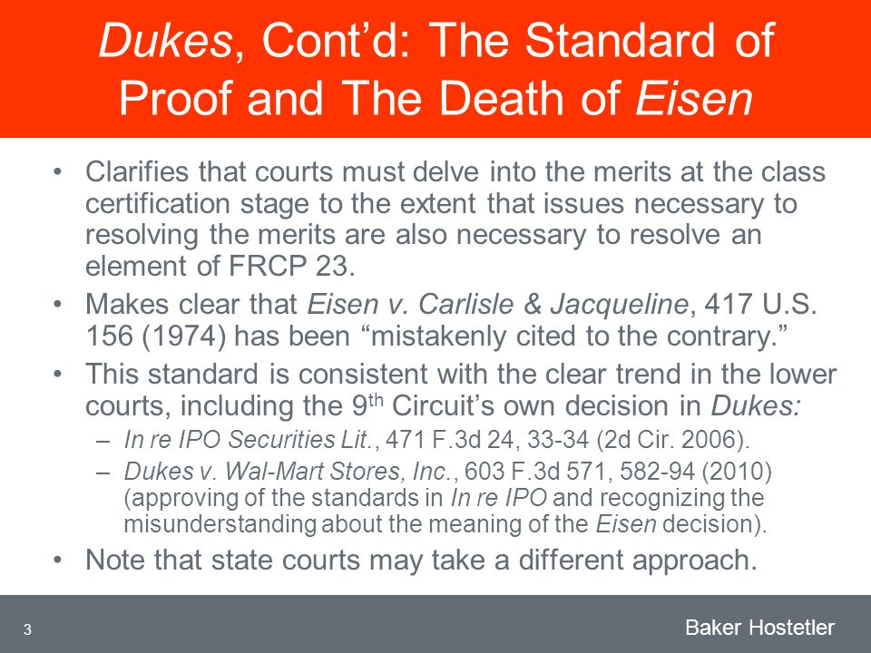 3 Baker Hostetler Dukes, Contd: The Standard of Proof and The Death of Eisen Clarifies that courts must delve into the merits at the class certification stage to the extent that issues necessary to resolving the merits are also necessary to resolve an element of FRCP 23.