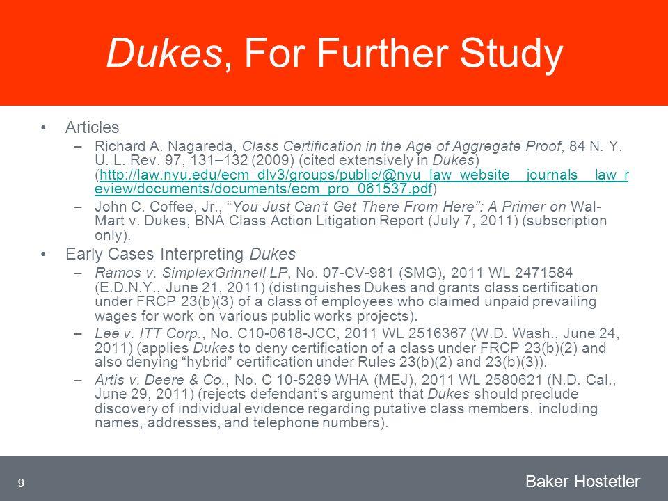 9 Baker Hostetler Dukes, For Further Study Articles –Richard A.