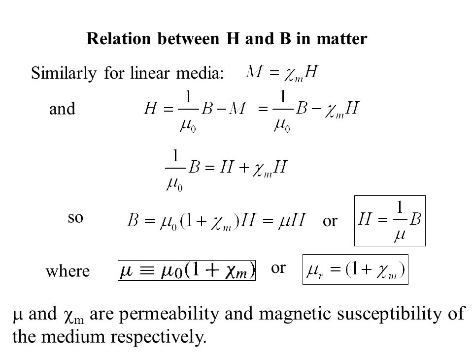 so and m are permeability and magnetic susceptibility of the medium respectively. Similarly for linear media: where or and or Relation between H and B