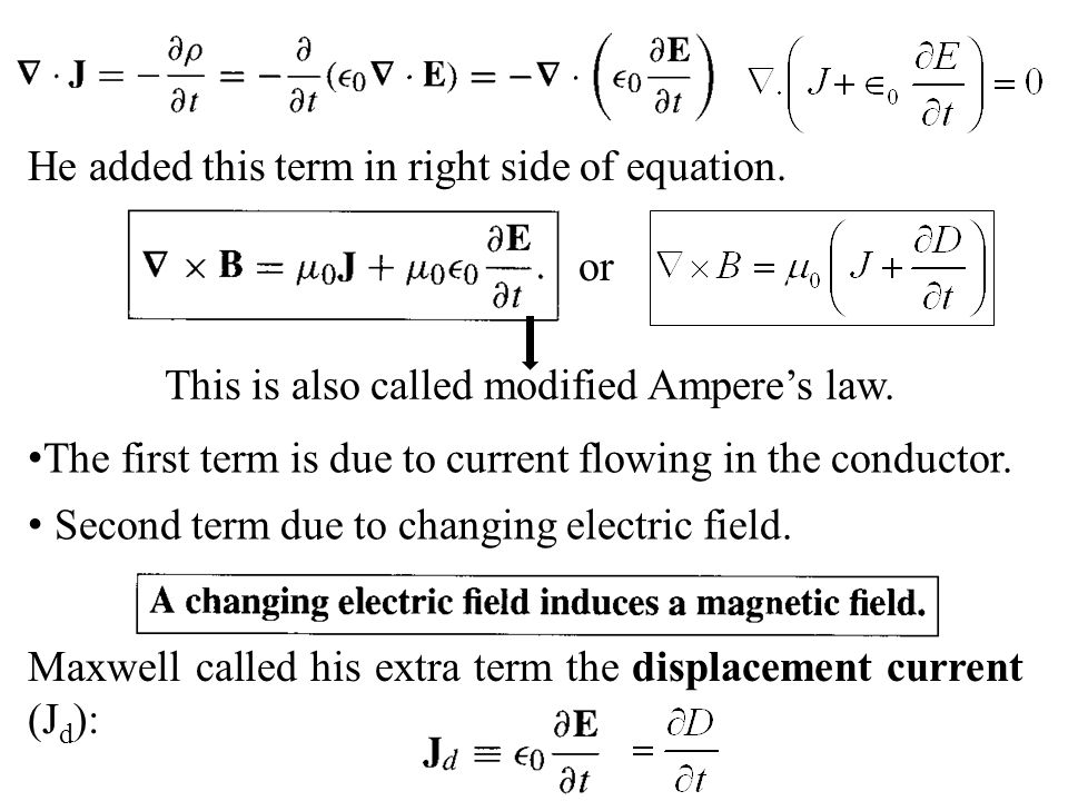 He added this term in right side of equation. The first term is due to current flowing in the conductor. Second term due to changing electric field. M