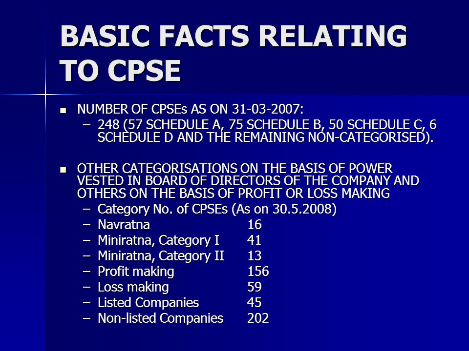BASIC FACTS RELATING TO CPSE NUMBER OF CPSEs AS ON 31-03-2007: NUMBER OF CPSEs AS ON 31-03-2007: –248 (57 SCHEDULE A, 75 SCHEDULE B, 50 SCHEDULE C, 6