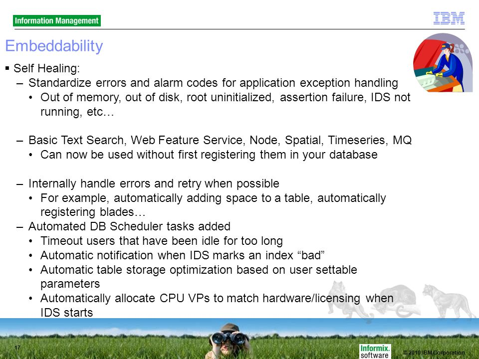 © 2010 IBM Corporation 17 Embeddability Self Healing: –Standardize errors and alarm codes for application exception handling Out of memory, out of disk, root uninitialized, assertion failure, IDS not running, etc… –Basic Text Search, Web Feature Service, Node, Spatial, Timeseries, MQ Can now be used without first registering them in your database –Internally handle errors and retry when possible For example, automatically adding space to a table, automatically registering blades… –Automated DB Scheduler tasks added Timeout users that have been idle for too long Automatic notification when IDS marks an index bad Automatic table storage optimization based on user settable parameters Automatically allocate CPU VPs to match hardware/licensing when IDS starts