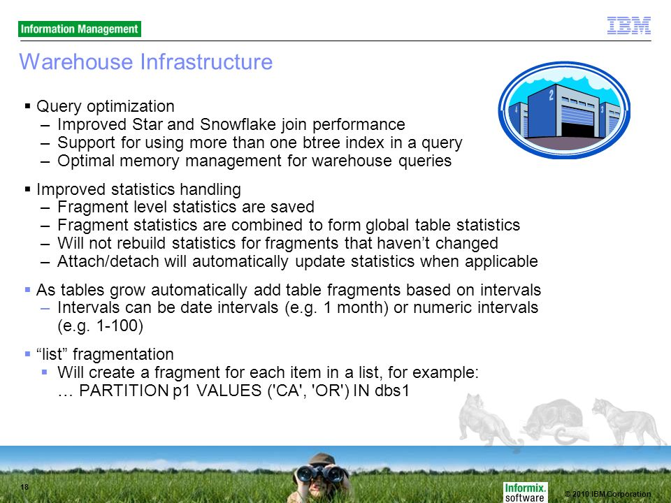 © 2010 IBM Corporation 18 Warehouse Infrastructure Query optimization –Improved Star and Snowflake join performance –Support for using more than one btree index in a query –Optimal memory management for warehouse queries Improved statistics handling –Fragment level statistics are saved –Fragment statistics are combined to form global table statistics –Will not rebuild statistics for fragments that havent changed –Attach/detach will automatically update statistics when applicable As tables grow automatically add table fragments based on intervals –Intervals can be date intervals (e.g.