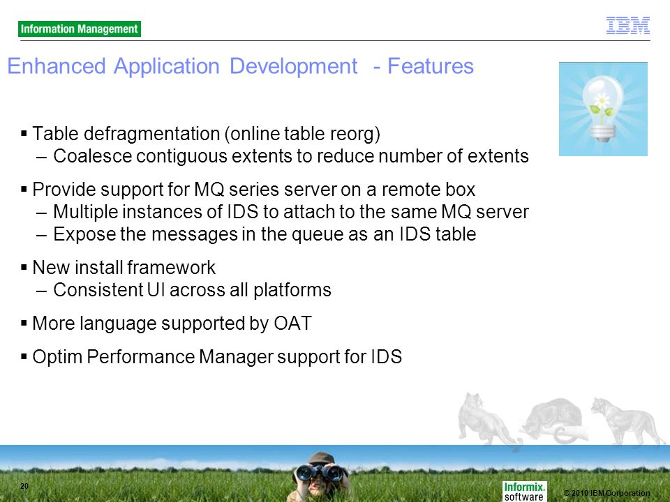 © 2010 IBM Corporation 20 Enhanced Application Development - Features Table defragmentation (online table reorg) –Coalesce contiguous extents to reduce number of extents Provide support for MQ series server on a remote box –Multiple instances of IDS to attach to the same MQ server –Expose the messages in the queue as an IDS table New install framework –Consistent UI across all platforms More language supported by OAT Optim Performance Manager support for IDS