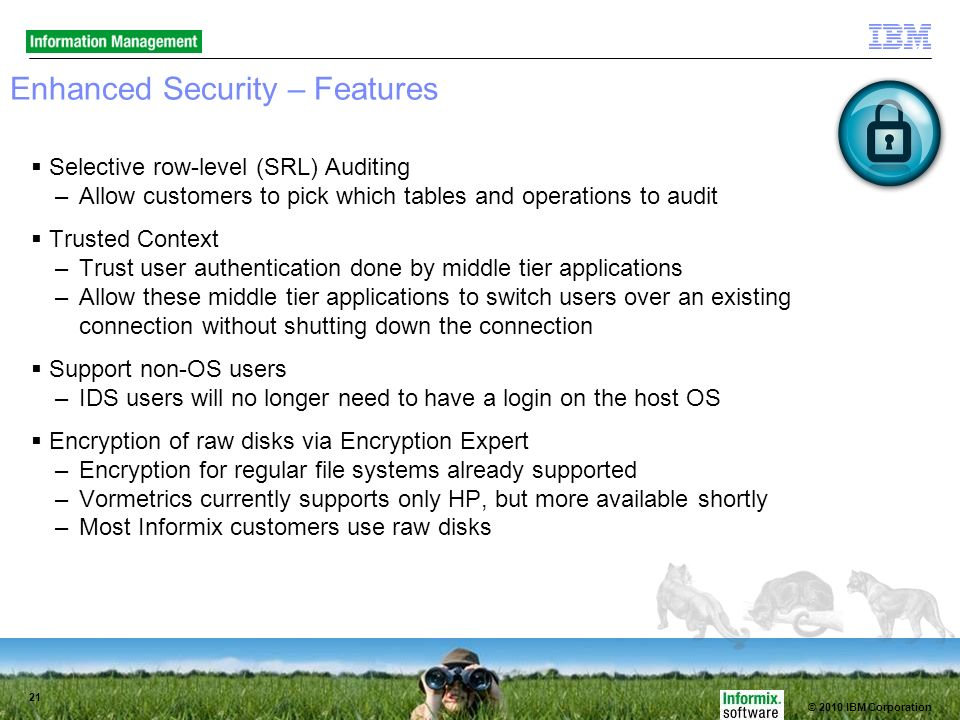 © 2010 IBM Corporation 21 Enhanced Security – Features Selective row-level (SRL) Auditing –Allow customers to pick which tables and operations to audit Trusted Context –Trust user authentication done by middle tier applications –Allow these middle tier applications to switch users over an existing connection without shutting down the connection Support non-OS users –IDS users will no longer need to have a login on the host OS Encryption of raw disks via Encryption Expert –Encryption for regular file systems already supported –Vormetrics currently supports only HP, but more available shortly –Most Informix customers use raw disks