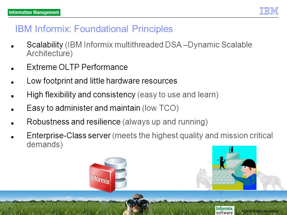 © 2010 IBM Corporation 4 IBM Informix: Foundational Principles Scalability (IBM Informix multithreaded DSA –Dynamic Scalable Architecture) Extreme OLTP Performance Low footprint and little hardware resources High flexibility and consistency (easy to use and learn) Easy to administer and maintain (low TCO) Robustness and resilience (always up and running) Enterprise-Class server (meets the highest quality and mission critical demands)
