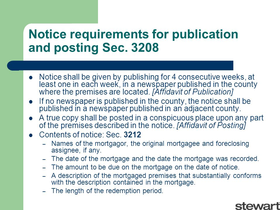 Notice requirements for publication and posting Sec.