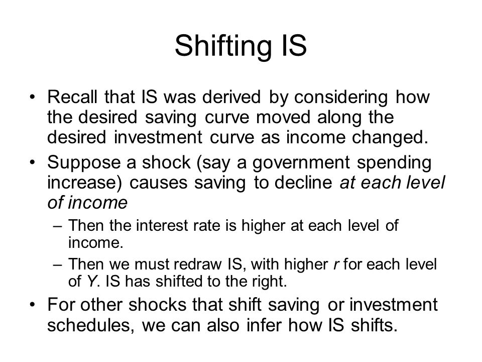 Shifting IS Recall that IS was derived by considering how the desired saving curve moved along the desired investment curve as income changed. Suppose