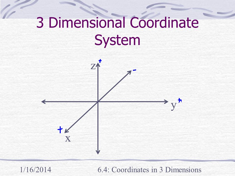 1/16/20146.4: Coordinates in 3 Dimensions 3 Dimensional Coordinate System x y z