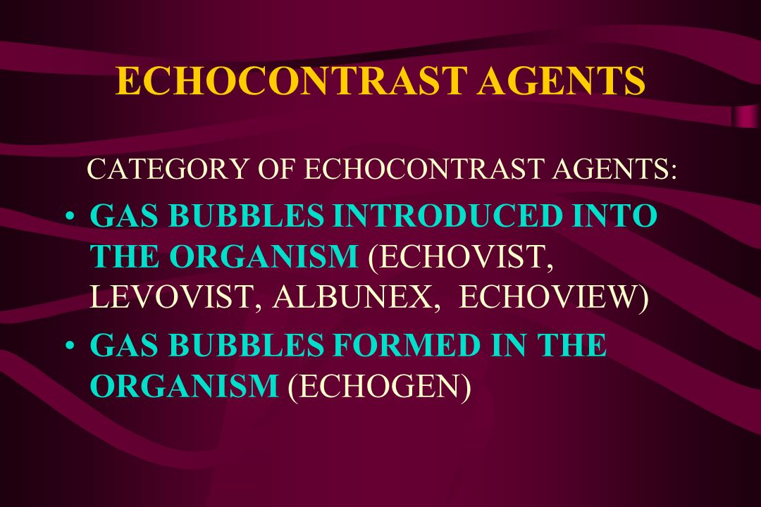 WHAT ARE ECHOCONTRAST AGENTS? AIR OR GAS MICROBUBBLES, FREE OR INCAPSULATED IN A POLYMER COVER ACCORDING TO THEIR HIGHER DIFFERENCE IN ACOUSTIC IMPEDA