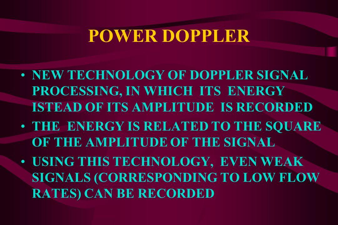 NEW COLOUR DOPPLER IMAGING MODALITIES POWER DOPPLER (Colour Doppler Energy, Colour Doppler Angio) TISSUE DOPPLER IMAGING (TDI) 3-D COLOUR DOPPLER SONO