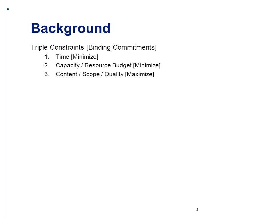 Background Triple Constraints [Binding Commitments] 1. Time [Minimize] 2. Capacity / Resource Budget [Minimize] 3. Content / Scope / Quality [Maximize