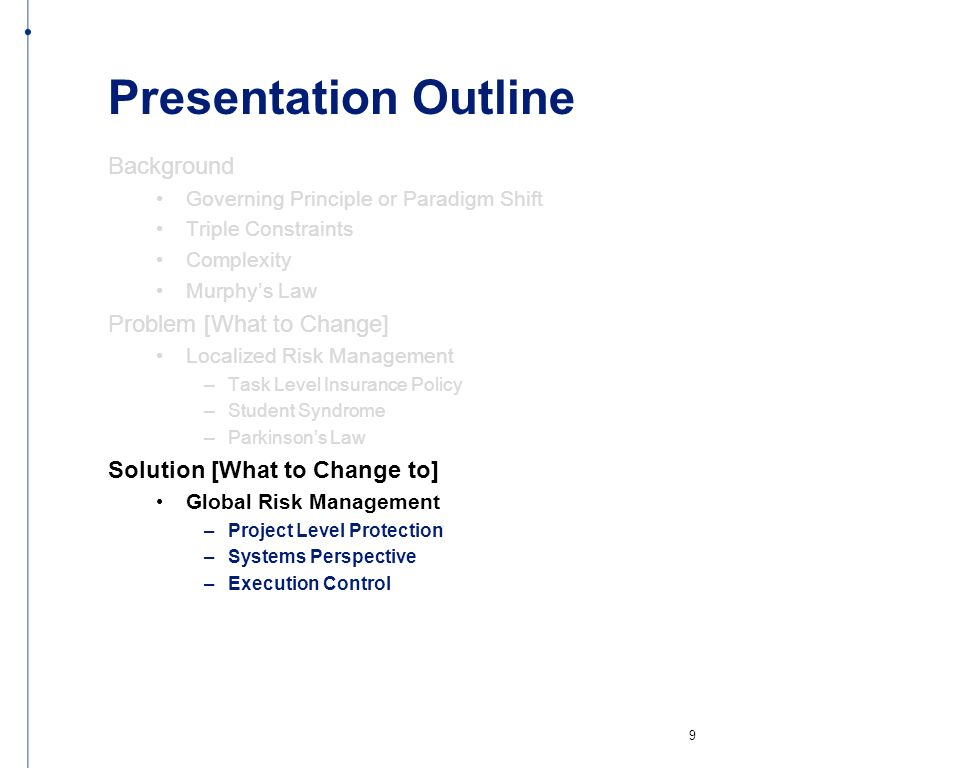 Presentation Outline Background Governing Principle or Paradigm Shift Triple Constraints Complexity Murphys Law Problem [What to Change] Localized Ris