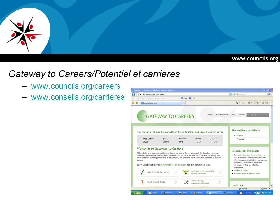 www.councils.org Gateway to Careers/Potentiel et carrieres –www.councils.org/careerswww.councils.org/careers –www.conseils.org/carriereswww.conseils.org/carrieres