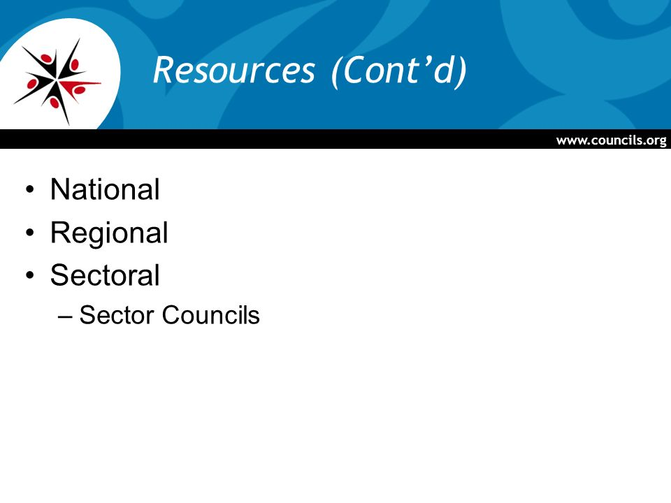 Resources (Contd) National Regional Sectoral –Sector Councils