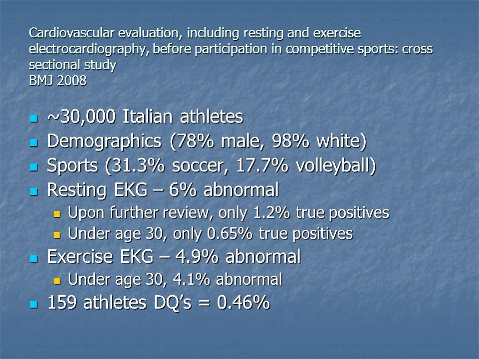 ~30,000 Italian athletes ~30,000 Italian athletes Demographics (78% male, 98% white) Demographics (78% male, 98% white) Sports (31.3% soccer, 17.7% vo