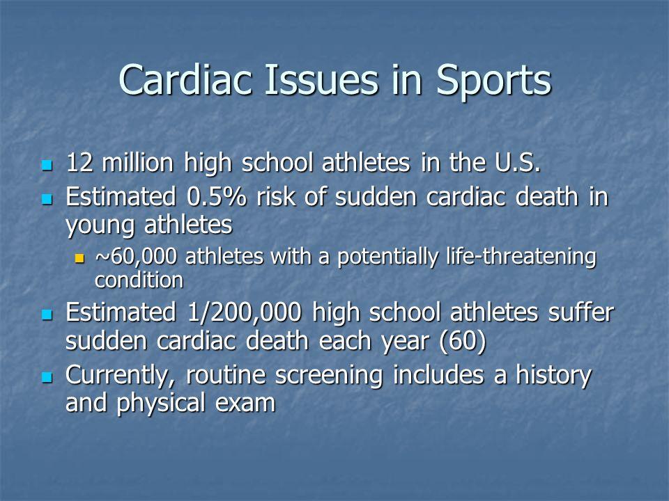 Cardiac Issues in Sports 12 million high school athletes in the U.S. 12 million high school athletes in the U.S. Estimated 0.5% risk of sudden cardiac