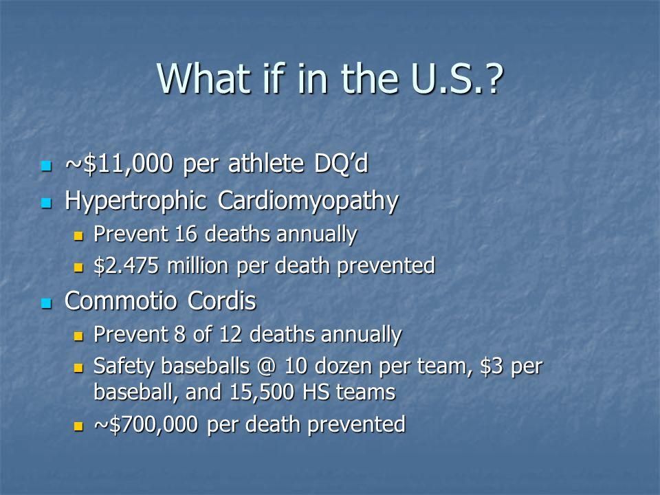 What if in the U.S.? ~$11,000 per athlete DQd ~$11,000 per athlete DQd Hypertrophic Cardiomyopathy Hypertrophic Cardiomyopathy Prevent 16 deaths annua