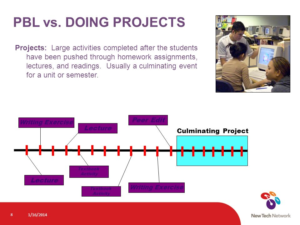 8 Projects: Large activities completed after the students have been pushed through homework assignments, lectures, and readings. Usually a culminating
