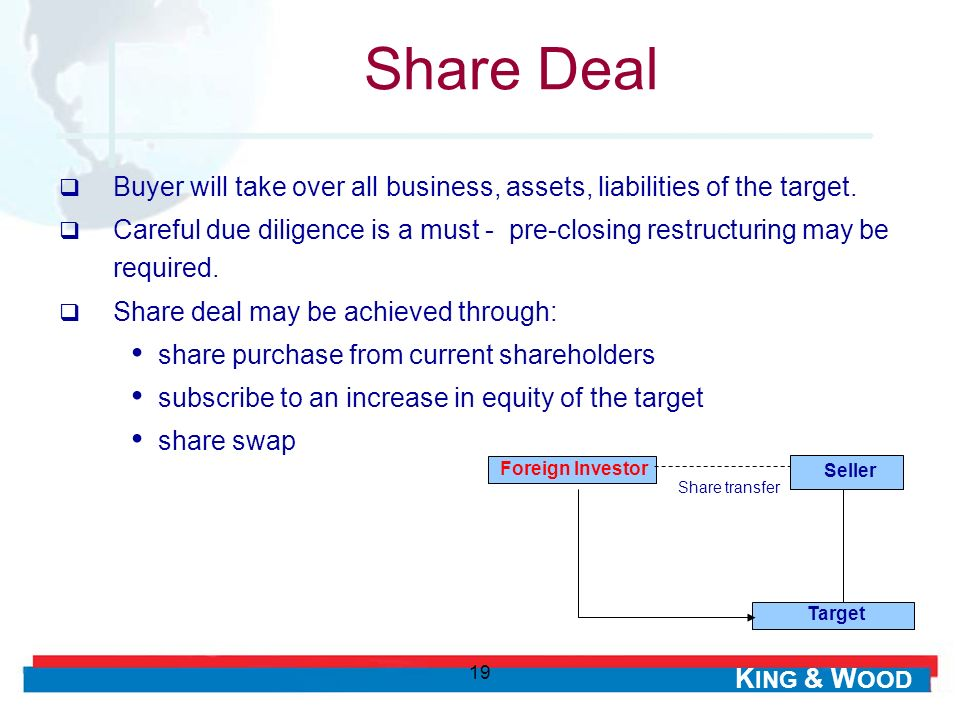 K ING & W OOD 19 Buyer will take over all business, assets, liabilities of the target. Careful due diligence is a must - pre-closing restructuring may