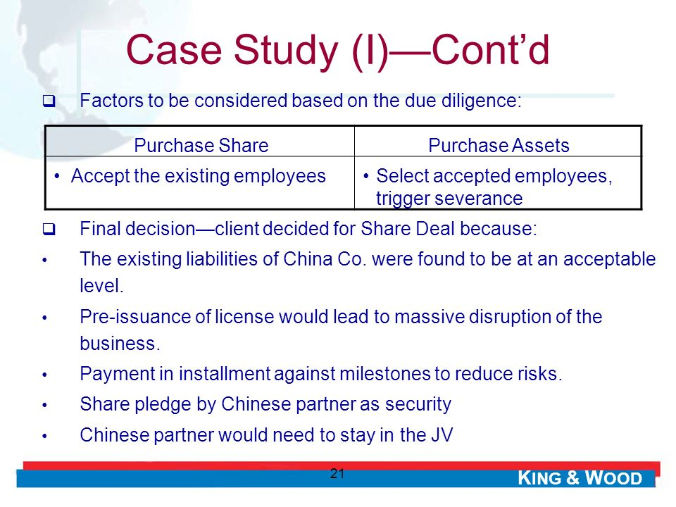 K ING & W OOD 21 Factors to be considered based on the due diligence: Case Study (I)Contd Purchase SharePurchase Assets Accept the existing employeesS