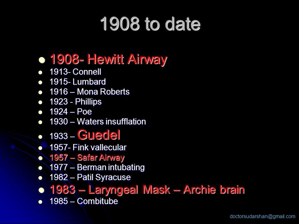 doctorsudarshan@gmail.com 1908- Hewitt Airway 1908- Hewitt Airway 1913- Connell 1913- Connell 1915- Lumbard 1915- Lumbard 1916 – Mona Roberts 1916 – M