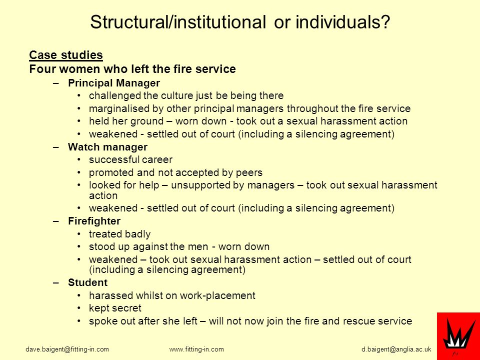 Structural/institutional or individuals.
