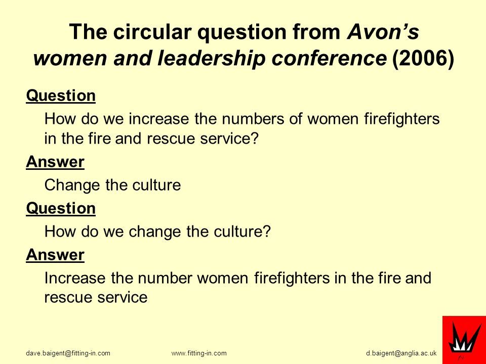 The circular question from Avons women and leadership conference (2006) Question How do we increase the numbers of women firefighters in the fire and rescue service.