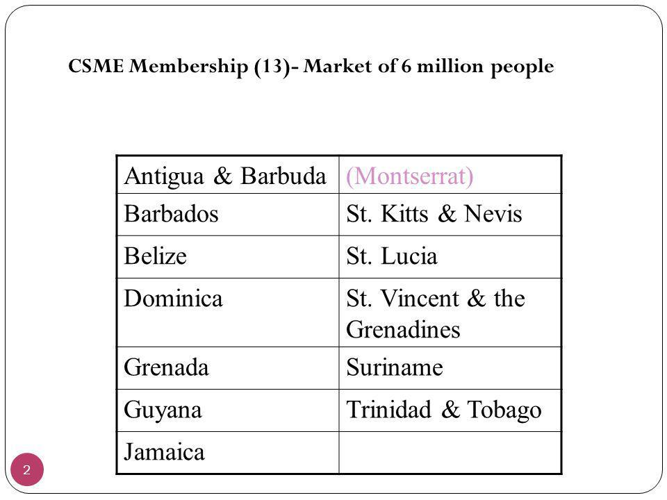 2 CSME Membership (13)- Market of 6 million people Antigua & Barbuda(Montserrat) BarbadosSt. Kitts & Nevis BelizeSt. Lucia DominicaSt. Vincent & the G
