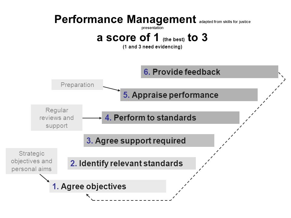Performance Management adapted from skills for justice presentation a score of 1 (the best) to 3 (1 and 3 need evidencing) 2. Identify relevant standa