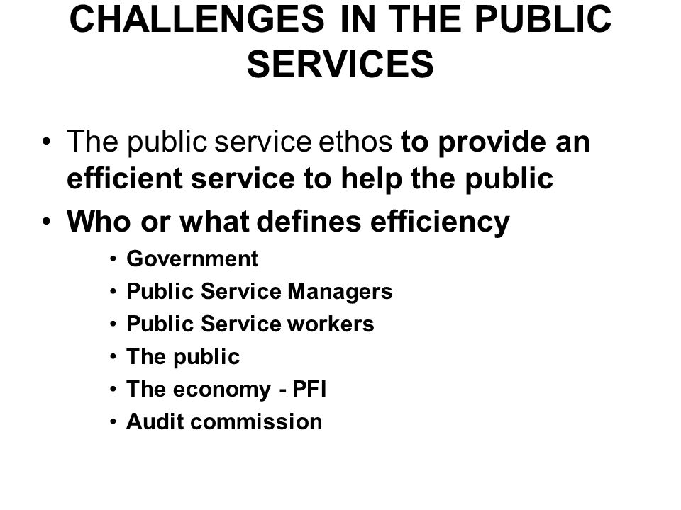 CHALLENGES IN THE PUBLIC SERVICES The public service ethos to provide an efficient service to help the public Who or what defines efficiency Government Public Service Managers Public Service workers The public The economy - PFI Audit commission