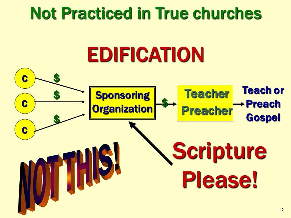 Not Practiced in True churches Teach or Preach Gospel C C $ $ $ EDIFICATION C Teacher Teacher SponsoringOrganization $ Scripture Please! 12 Preacher P