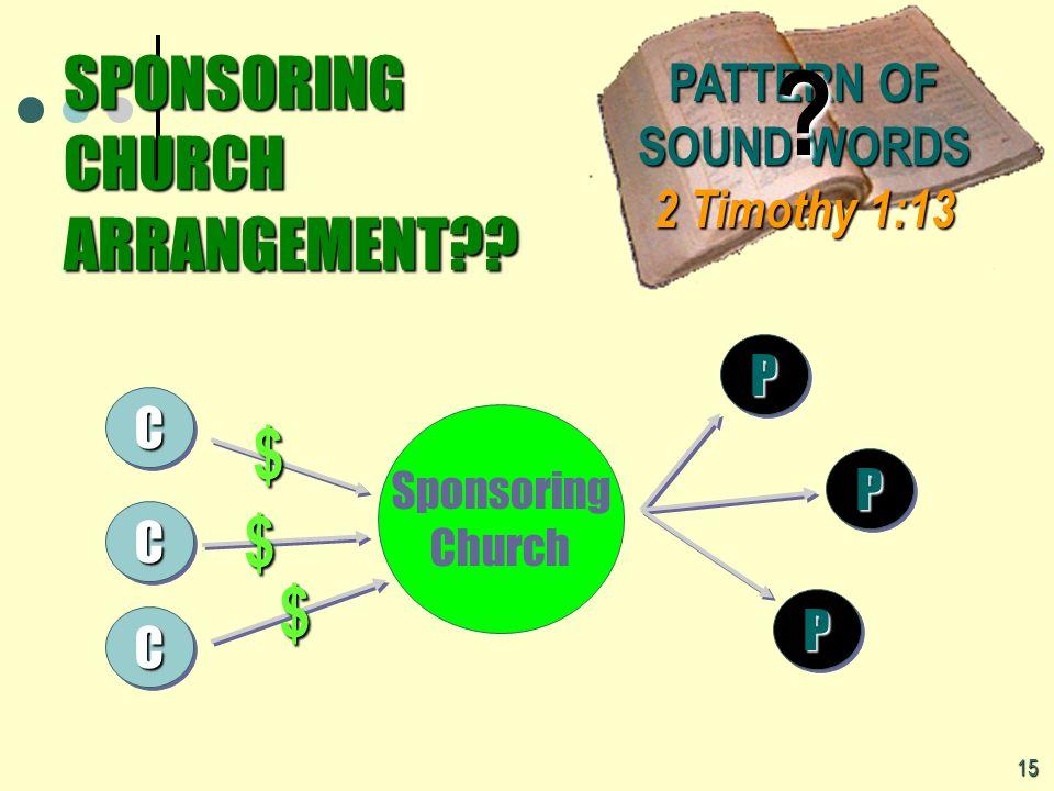 SPONSORING CHURCH ARRANGEMENT?? 15 CC CC CC Sponsoring Church $ $ $ PP PP PP PATTERN OF SOUND WORDS 2 Timothy 1:13 ?