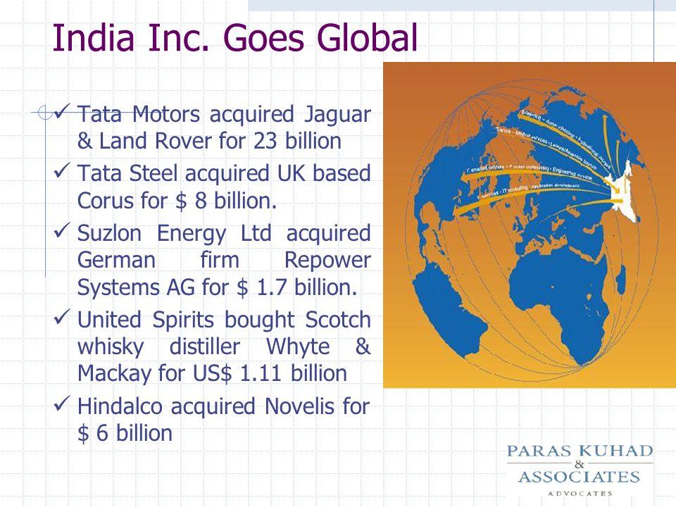 India Inc. Goes Global Tata Motors acquired Jaguar & Land Rover for 23 billion Tata Steel acquired UK based Corus for $ 8 billion. Suzlon Energy Ltd a