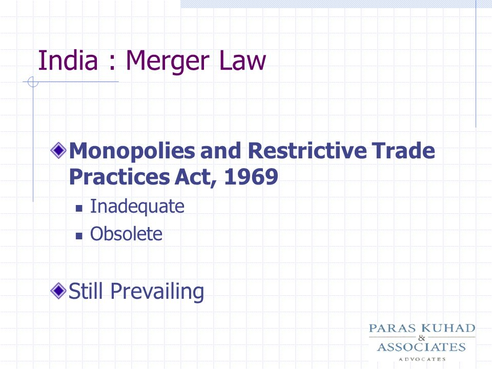 India : Merger Law Monopolies and Restrictive Trade Practices Act, 1969 Inadequate Obsolete Still Prevailing