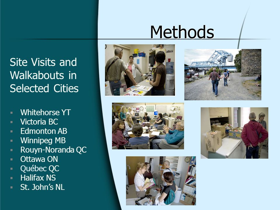 Methods Site Visits and Walkabouts in Selected Cities Whitehorse YT Victoria BC Edmonton AB Winnipeg MB Rouyn-Noranda QC Ottawa ON Québec QC Halifax NS St.