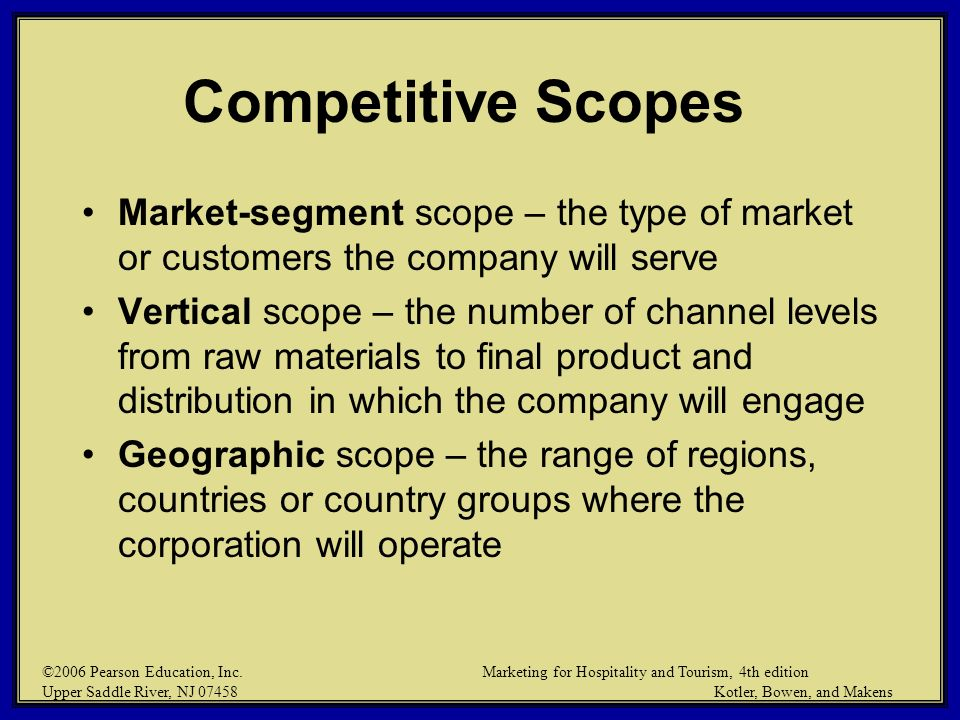 ©2006 Pearson Education, Inc. Marketing for Hospitality and Tourism, 4th edition Upper Saddle River, NJ 07458 Kotler, Bowen, and Makens Competitive Sc