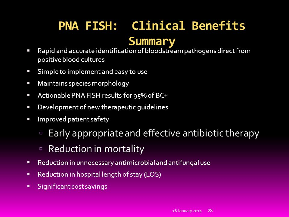 PNA FISH: Clinical Benefits Summary Rapid and accurate identification of bloodstream pathogens direct from positive blood cultures Simple to implement