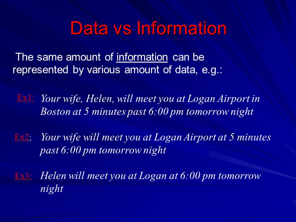 Data vs Information The same amount of information can be represented by various amount of data, e.g.: Your wife, Helen, will meet you at Logan Airpor