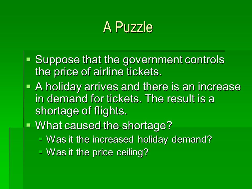 A Puzzle Suppose that the government controls the price of airline tickets. Suppose that the government controls the price of airline tickets. A holid