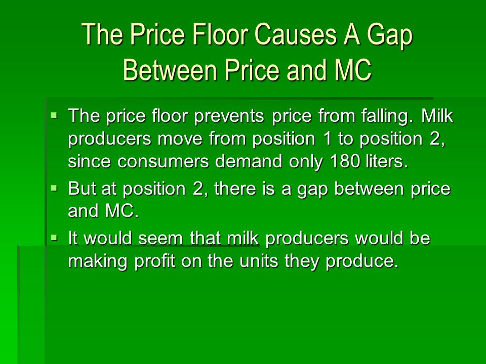 The Price Floor Causes A Gap Between Price and MC The price floor prevents price from falling. Milk producers move from position 1 to position 2, sinc